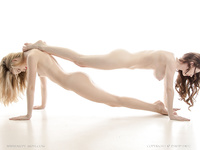 Flexible girls nude posing